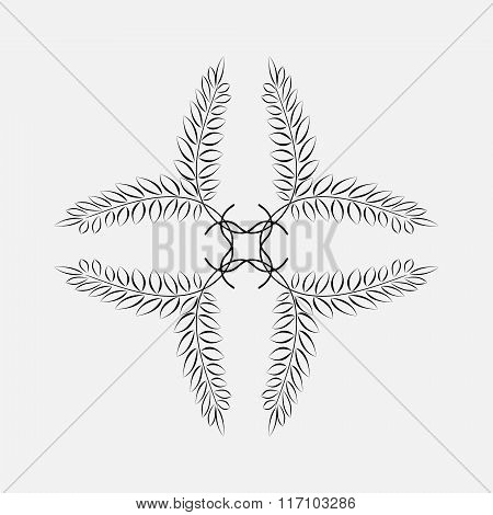 Laurel wreath tattoo. Black ornament. Cross sign on white background.  Defence, peace, glory symbol.