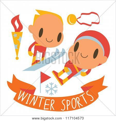 people and winter sports activities: ski, skate, sled and others. Winter competitions: Ski Jumping and Luge