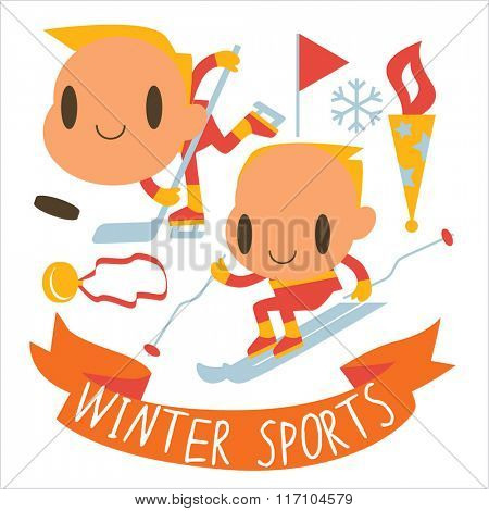 people and winter sports activities: ski, skate, sled and others. Winter competitions: Ice Hockey and Alpine Skiing