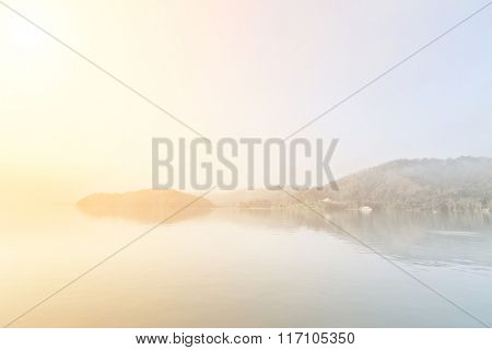 Landscape of famous Sun Moon Lake in the morning with mist in Taiwan, Asia.