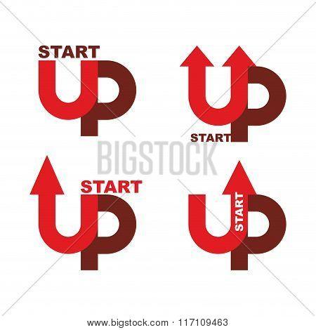 Startup Logo. Character Set For Commencement Of Business. Red Up Arrow. Beginning Of Business Ideas.