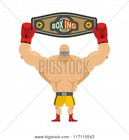 Boxing Champion Holds Belt. Winner In Competitions And Boxing Award. Champions Belt. Boxer And Award