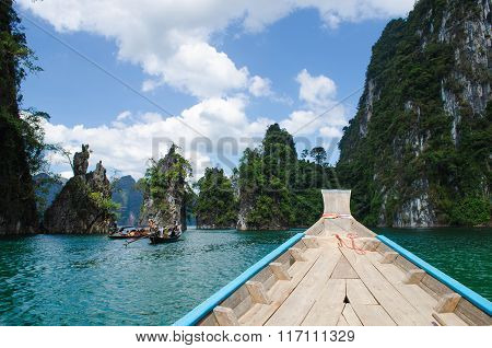 Island Water In Ratchaprapha Dam At Khao Sok National Park, Surat Thani Province, Thailand.
