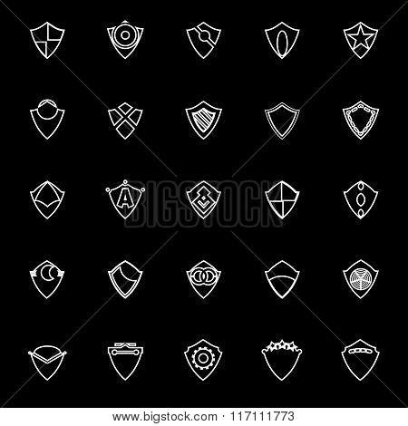 Design Shield Line Icons On Black Background