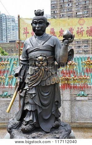 Hong Kong, China - June 25, 2014: Chinese Zodiac Bronze Monkey Stature At Sik Sik Yuen Wong Tai Sin