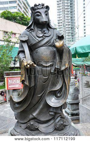 Hong Kong, China - June 25, 2014: Chinese Zodiac Bronze Rat Stature At Sik Sik Yuen Wong Tai Sin Tem
