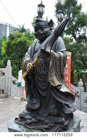 Hong Kong, China - June 25, 2014: Chinese Zodiac Bronze Pig Stature At Sik Sik Yuen Wong Tai Sin Tem