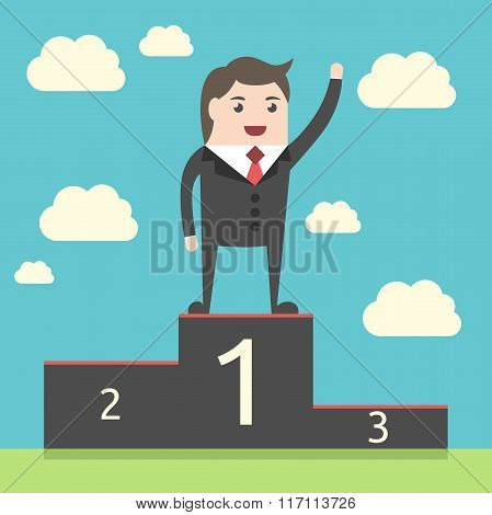 Successful Businessman On Pedestal