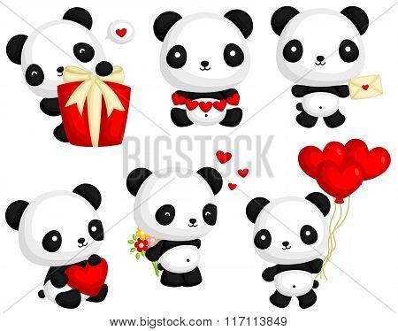 Cute Panda in Love Vector Set