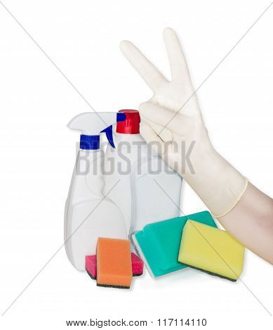 Hand In Rubber Glove, Cleaning Sponges And Cleaning Agents