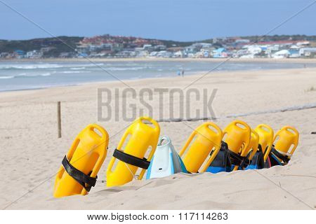 Beach With Lifesaving Flotation Devices