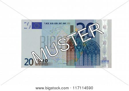 Money - Twenty (20) Euro Bill Banknote Front With German Lettering Muster (specimen)