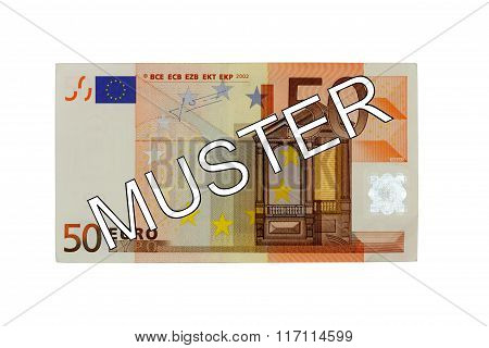 Money - Fifty (50) Euro Bill Banknote Front With German Lettering Muster (specimen)