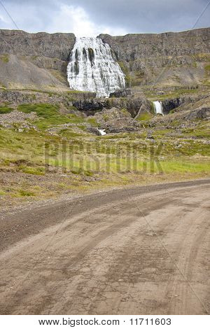 Empty Gravel Route To Dynjandi Waterfall - Iceland