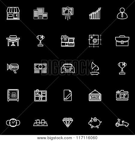 Asset And Property Line Icons On Black Background