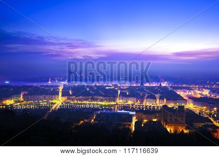 Morning Lights Over Lyon City, France