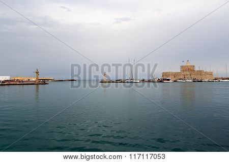 Entry to Mandraki Harbour in Rhodos Greece