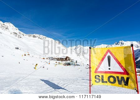 Yellow Slow Down Warning Sign