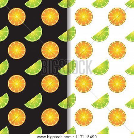 Orange lime vector seamless patterns set .