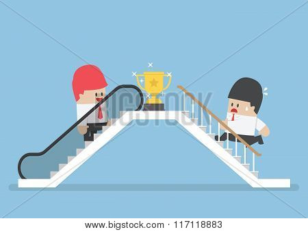 Businessman Who Use Escalator To Success And His Rival Climbing The Stair