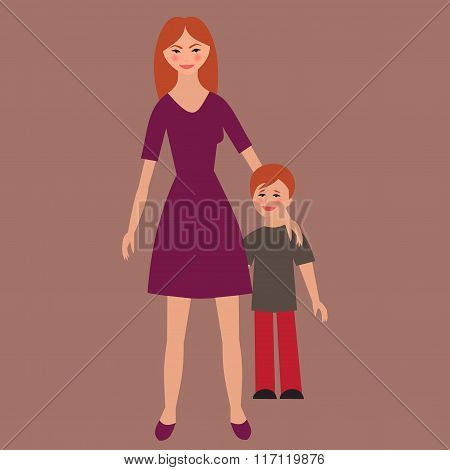 Flat Portrait Of Happy Family With Mother And Child.