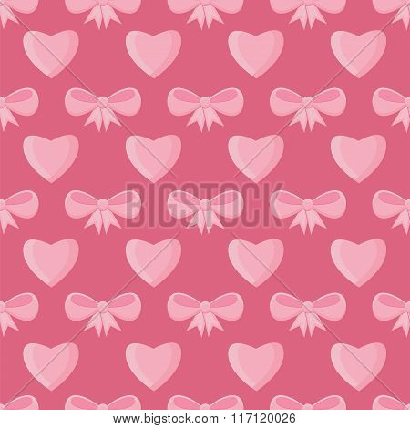 Seamless Pattern With Hearts And Bows For Valentine's Day