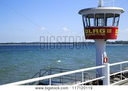 Travemuende,Baltic seacost,Germany - June 8. Lifeguard tower of one of the most popular German seaside resort and Germany's largest ferry port on the Baltic Sea on June 8, 2015, Travemuende, Gerrmany