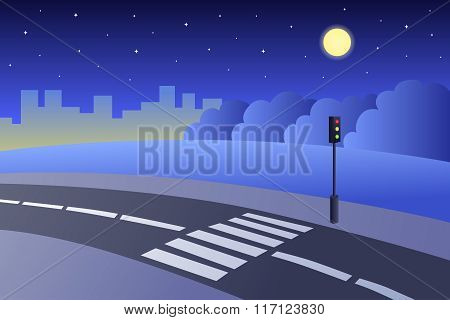 Crosswalk road landscape summer night illustration vector