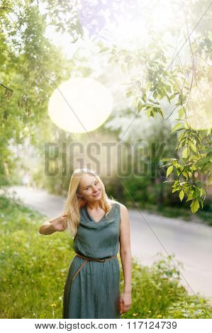 Young Happy Tranquil Woman In Summer Country