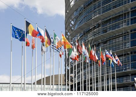 Europe France Strasbourg. Europarliament. Flags of the countries of the European Union at an input in Europarliament