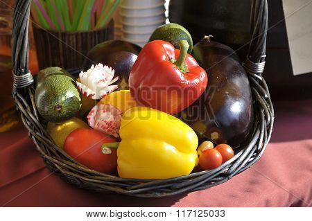 A Basket With A Crop Of Vegetables