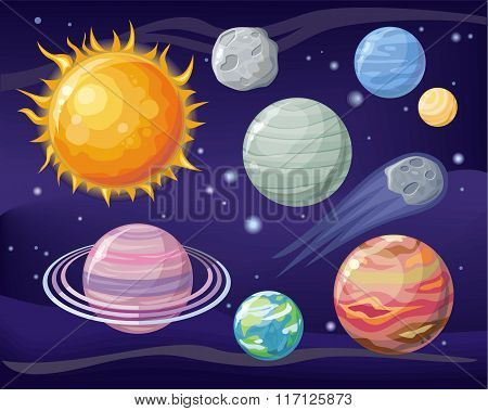 Space with Planet Sun and Star Design Flat