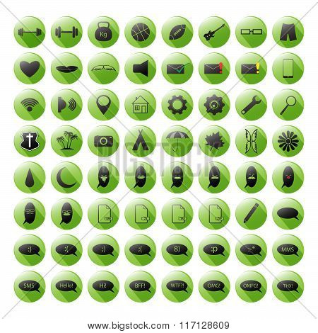Set of the green icons for your site, mobile apps etc