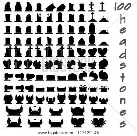 Set of one hundred gravestones. Black gravestones. One hundred gravestones. Gravestones for cemetery. Vector gravestones. Funeral gravestones. Gravestones icons. Set of the gravestones. Gravestone. poster