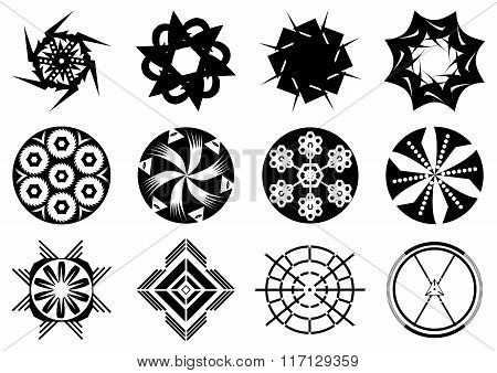 Set of the abstract spiral signs