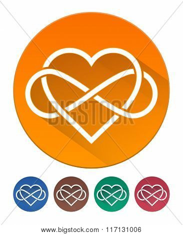 Hearts Icon Flat. Intertwined Heart With The Sign Of Infinity