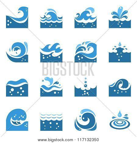 Blue Wave Icons Set
