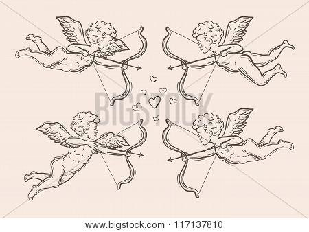 hand-drawn sketch classic Cupid, angel. vector illustration