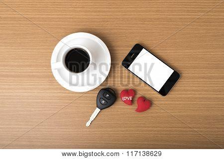 Coffee Phone Car Key And Heart
