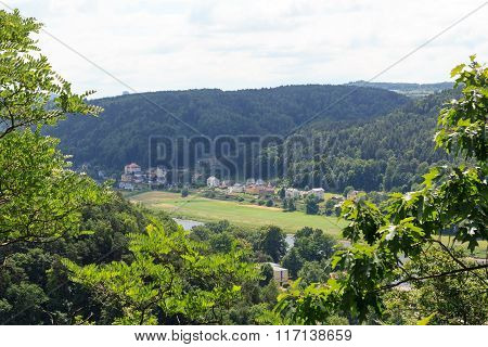 View Towards Elbe And Krippen, District Of Bad Schandau In Saxon Switzerland