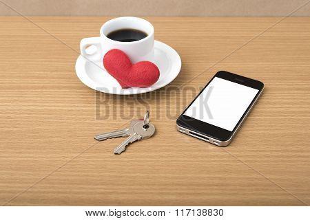 Coffee Phone Key And Heart