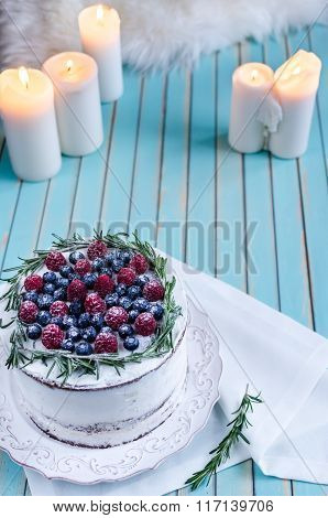 Homemade Cake Decorated Berries On Plate Over Wooden Turquoise Background