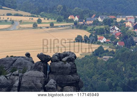 Village Altendorf Seen From Schrammstein Viewing Point In Saxon Switzerland