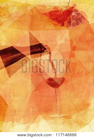 Wine poster design with watercolor drawing of red wine poured into glass and bunch of grapes