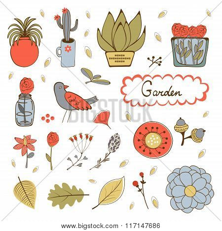 Cute hand drawn collection of house plants, flowers and twings.