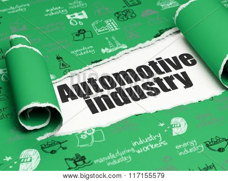 Industry concept: black text Automotive Industry under the piece of  torn paper