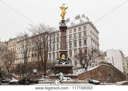 Golden Liebenberg Monument In Vienna In The Winter