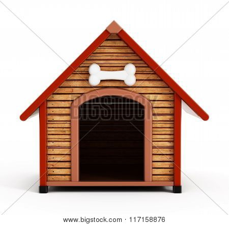 Dog kennel or dog house isolated on white background. poster