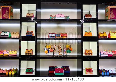 HONG KONG - JANUARY 27, 2016: interior of Dolce & Gabbana store. Dolce & Gabbana is an entry level fashion house founded in 1985 in Legnano by Italian designers Domenico Dolce and Stefano Gabbana.
