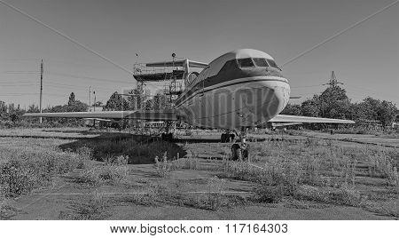 Old Soviet Aircraft Yak-40 At An Abandoned Aerodrome